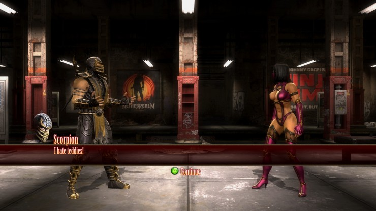 See? He hates them. Personally, I'd just take the damn bear so she'd leave me alone. The teddy bear is actually modelled and Mileena is holding it during the fight, but since I am awful at screenshots you can't quite see it here.
