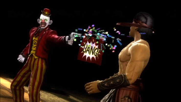 This is Shang Tsung's main fatality. NetherRealm were apparently so in love with that crappy Joker fatality from MK vs. DC that they just had to put in an extra gory version.